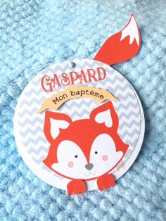 share baby boy for baptism or birth - orange and grey fox pattern - make round Granny Gifts, Grandmother's Day, Gaspard, Grey Fox, Fox Pattern, Card Kit, Pattern Making, Little Boys, Birth