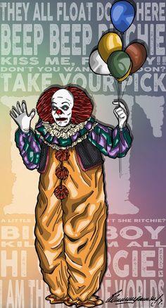 Pennywise the clown - Stephen Kings IT by Art It, Stephen King Film, Giger Art, Movie Crafts, Steven King, Pennywise The Dancing Clown, King Book, Creepy Clown, King Art