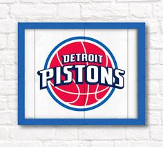 """DETROIT PISTONS home decor - Boys room or man cave rustic 16""""x20"""" handmade sign - Detroit Pistons wall sign on Etsy, $55.00"""