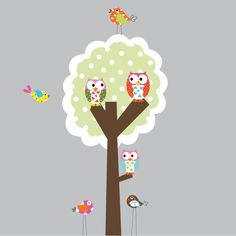 Polka DoT Tree with OWLS and BiRDS!! <3 playroom!!