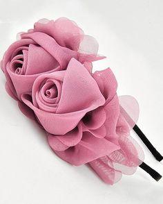 Fabric Flower Headbands, Yarn Flowers, Chiffon Flowers, Diy Flowers, Flower Boquet, Kanzashi Flowers, Crafty Craft, Flower Tutorial, Ribbon Embroidery