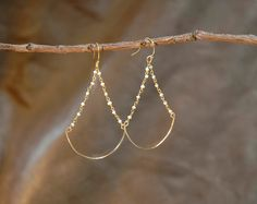tiny freshwater pearl beads chandlier by sticksandstonesny on Etsy, $32.00