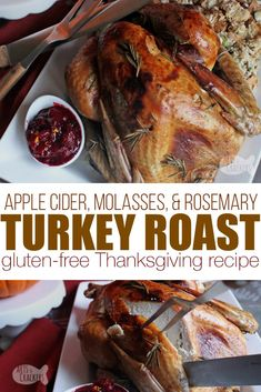Celebrate Thanksgiving with this sweet and savory Rosemary Molasses Apple Cider Turkey Roast, and learn how to get the perfect brown, crispy skin! Rosemary Turkey Recipe, Apple Cider Turkey Brine Recipe, Apple Recipes Thanksgiving, Thanksgiving Turkey, Holiday Recipes, Baked Turkey, Roasted Turkey, Ground Turkey Burgers, Rumchata Recipes
