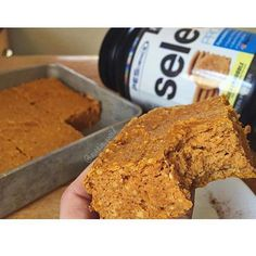 Snickerdoodle Pumpkin Bars RECIPE: 2 scoops Snickerdoodle Select protein 1.5oz can pumpkin purée 1 cup (90g) oat flour 1/2 cup (56g) almond meal 1 egg 1tbsp melted butter or coconut oil 1/4 cup sugar free syrup or almond/cashew milk 1/3 cup in the raw baking stevia 1/2 tsp baking soda 1/2 tsp pumpkin pie spice 1/2 tsp vanilla extract pinch of salt CLICK PHOTO FOR FULL RECIPE