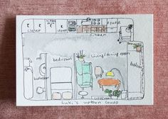Watercolor floor plan painted by Suki.