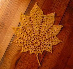 Autumn leaf crochet doily - yellow | Oh My Craft