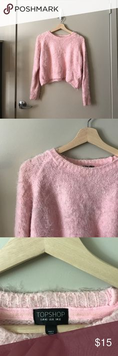 Fuzzy Crop Sweater SUPER CUTE & SOFT/FUZZY pink cropped sweater!! Loved, but still as cute as ever. From Topshop, size US 8/UK 12; 71% nylon 29% acrylic Topshop Sweaters