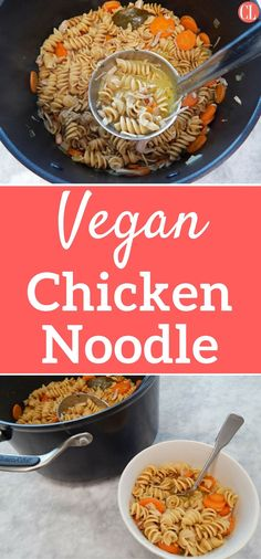 Everyone enjoys a steaming bowl of soup to warm up their body and spirits when they're under the weather. Now vegans and vegetarians don't have to miss out on this comfort. Our plant-based spin on chicken noodle features jackfruit, which perfectly mimics shredded chicken, and a combination of herbs that will hit you with a nostalgic taste. Feel free to substitute other pasta shapes (alphabet soup, anyone?) or other seasonal veggies you have on hand. | Cooking Light