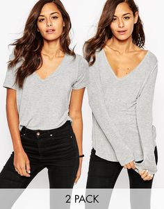 ASOS The New Forever T-Shirt With Long Sleeves and Short Sleeves In Soft Touch 2 Pack Save 15%