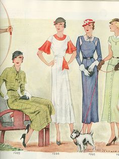 Chic 1933 women's fashions dress color illustration green blue white day wear vintage styles 30s