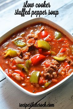 Slow Cooker Stuffed Pepper Soup is a reader favorite and one of our most popular slow cooker recipes! Slow Cooker Stuffed Pepper Soup is a reader favorite and one of our most popular slow cooker recipes! Stuffed Pepper Soup Crockpot, Slow Cooker Stuffed Peppers, Crock Pot Soup, Slow Cooker Soup, Stuffed Green Peppers, Stuffed Bell Pepper Soup, Crock Pots, Red Peppers, Fall Crockpot Recipes