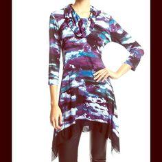 Chiffon Blouse CUPIO Chiffon Tunic Dress NWT NWT! So FLIPPIN cute! Retail $68  Cupio Tops Blouses