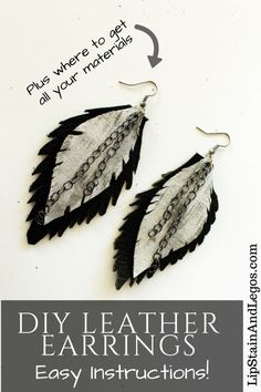 Make your own easy leather feather and Chain earrings with this simple jewelry DIY