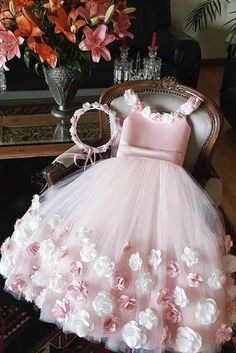 A Line Round Neck Pink Hand Made Flowers Flower Girl Dresses Tulle Wedding Party Dresses XHNPST15019