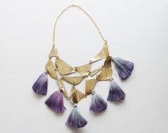 QUEEN/ Gold & Violet leather and tassel tribal by DDSLLGirlsStore, $45.00