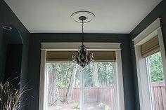Window trim for our bedroom plus a few decorating ideas. Door Frame Molding, Door Frames, Moulding, Window Casing, Bamboo Shades, Beautiful Bathrooms, Window Treatments, Master Bathroom, Light Fixtures