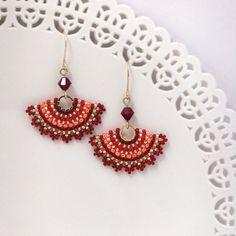 Red earrings, Red dangle earrings, Orange earrings, Fan earrings, Seed bead earrings, Red and gold earrings, Unique jewelry women