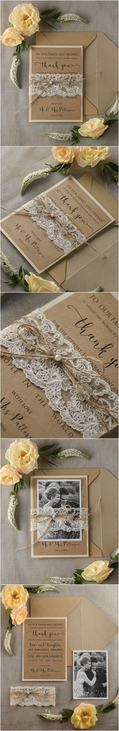Wedding Thank You Card with Your photo ! #weddingideas #thankyou #rustic #lace #romantic