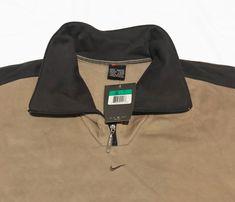 Vintage 90s Nike Small Swoosh 1/4 Zip Sweatshirt Beige  SPELL OUT Logo SIze XL