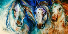 INDIAN WAR HORSE SERIES 2014 ~ NEW original oil painting 3 WILD APPALOOSA HORSES ~ 36 x 18 gallery canvas by Marcia Baldwin