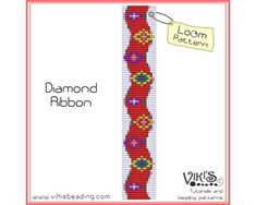 Bead Loom Pattern: Diamond Ribbon - INSTANT DOWNLOAD pdf - Buy 2 Get 1 free with coupon codes -  bl271