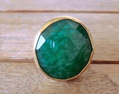 Emerald green ring gold plated ring handmade by craftysou on Etsy, $32.00