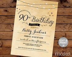90th Birthday Invitation Elegant Ninety Invitations Party Womens Mens Instant Download Editable Printable Vintage Personalize Lights Print