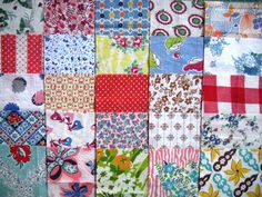 Vintage Feedsack Fabric 25 5inch Squares by QuiltyMcQuilterson, $12.50
