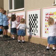 Outdoor game boards - great inspiration. We are doing a Classic Movies Crossword