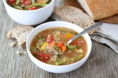 Veggie Quinoa Soup. Soooo warm and comforting when the weather's cold. I added my own veggies like broccoli when lacking the green beans. Also a sprinkle of cheese on the top is heavenly.
