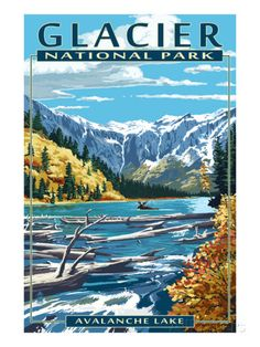 Glacier National Park, Montana - Avalanche Lake - Lantern Press Artwork (Art Print Available) Vintage National Park Posters, Glacier National Park Montana, Glacier Park, Photo Vintage, National Parks Usa, Park Art, Tarzan, Vintage Travel Posters, Grafik Design