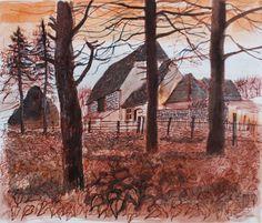 """Flint Barn Autumn"" by Robert Tavener, c.1982 (watercolour)"