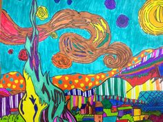 """Van Gogh reproduction- working from a 1""""x1"""" grid on the handout, students re-draw the picture on a 2""""x2""""grid. The color designs focus on pattern, rhythm in line and variety."""