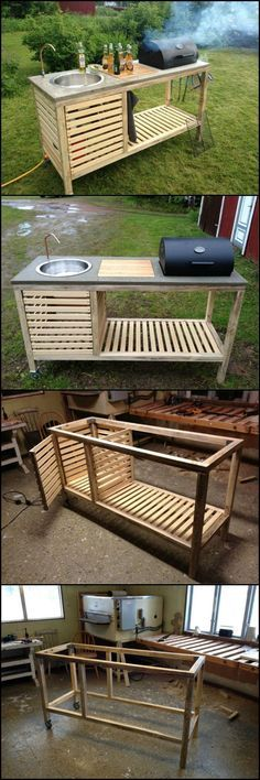 How To Build A Portable Kitchen For Your Backyard ? Outdoor kitchens have so many benefits and advantages but cost, usually, isn't one of them.  You don't need an expensive and full size outdoor kitchen. It just has to be functional and practical. This outdoor kitchen meets both criteria.