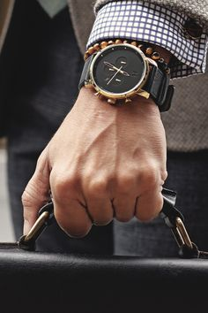 "captvinvanity:  The CHRONO GOLD/BLACK LEATHER | Buy HereHottest new watch company on the market. Use the code ""captvinvanity"" to save $10 on your order.!"