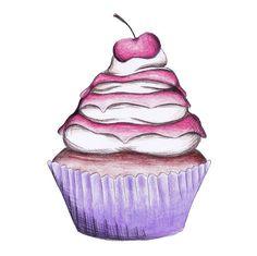 Cherry Sundae Cupcake limited edition print resin por KatyMontica
