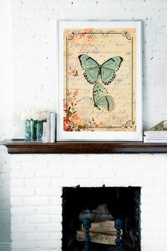 Butterfly ref.03 Vintage neo retro Plants Paris por SoulArtCorner
