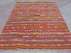 "VINTAGE Turkish Kilim Rug Carpet, Handwoven Kelim Rug,Antique Kelim Rug,Decorative Kilim, Natural Wool  62,2"" X 98,8"""