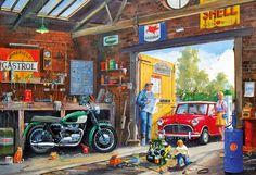 Daddy's Little Helper 500 piece jigsaw Mini Cooper S, Classic Mini, Classic Cars, Chevy, Nostalgic Art, Truck Art, Funky Art, Motorcycle Art, Model Train Layouts