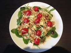 Salad for 1 Plate of spinach, hand full of cherry tomatoes, some walnuts, half an avacado with pepper on it, little bit of cheese, couple slices of turkey/chicken, and some balsamic vinegar BOOM!! Salad for one!