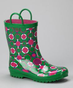Take a look at this Green & Pink Rain Boot on zulily today!