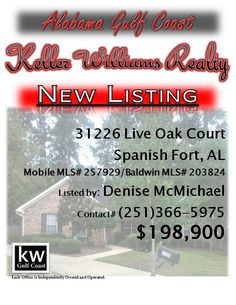 31266 Live Oak Court, Spanish Fort, AL..Mobile MLS# 257929/Baldwin MLS# 203824..$198,900..GREAT HOUSE! GREAT PRICE! LOCATION! BRICK home on a culdesac in Oakridge subdivision! HARDWOOD FLOORS! Woodburning FIREPLACE! French doors! Open floor plan! High ceilings! Tile & cleaned carpeting in bedrooms! Kitchen & baths have new hardware! Living room & master have new ceiling fans! ALL-ELECTRIC w/ A/C that is only 2 yrs old & roof is only 6 yrs old per seller. Contact Denise McMichael at 251-366-5975