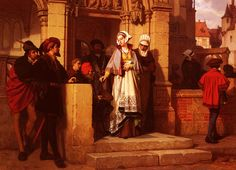 Wilhelm Koller (Wilhelm  Koller), Faust and Mephistopheles Waiting for Gretchen at the Cathedral Door