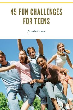 """Is your teen constantly telling you he or she is bored? Well, you won't want to miss this article! Here you will find 45 fun challenges for teens that they will love doing. Never again will you hear """"I'm bored"""" from your teen! Fun Challenges For Teens, Amazing Race Challenges, Challenge For Teens, Youth Group Activities, Icebreaker Activities, Youth Games, Summer Activities For Kids, Fun Games For Teenagers, Fun Games For Adults"""