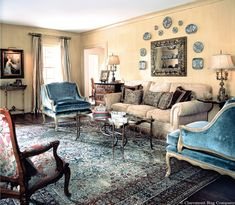 "Mid-19th century ""Garden of Paradise"" Laver Kirman Rug in Peaceful Living Room http://www.claremontrug.com/client-home-interiors-design/kirman-garden-antique-carpet/"