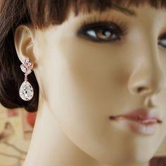 Luxury Cubic Zirconia floral ear posts with Swarovski Crystal Drop Earrings  - Earrings Nation