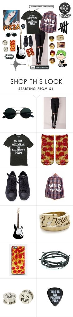 """Michael Clifford"" by laurenpepsi ❤ liked on Polyvore featuring Hot Topic, Living Royal, Converse, Snash Jewelry, Barbed and Rock 'N Rose"