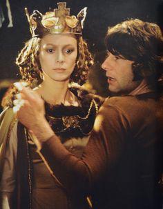 Roman Polanski & Francesca Annis on the set of 'Macbeth'.