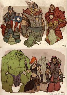 Iron Man Thor Tony Stark Captain America Hulk Black Widow Scarlet Johansson Hawkeye Medieval-Avengers