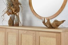 Our Pacific Buffet is a stunning solution to everyday storage needs. Equally at home in a lounge, dining or entry, this buffet is a welcome addition to any home or office. Kyal And Kara, Light Oak, Rattan, Interior Inspiration, Entryway Tables, Buffet, Lounge, Mirror, Creative
